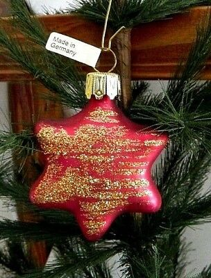 Hot Pink Star w Gold Glitter Mold Blown Glass Christmas Tree Ornament  Germany