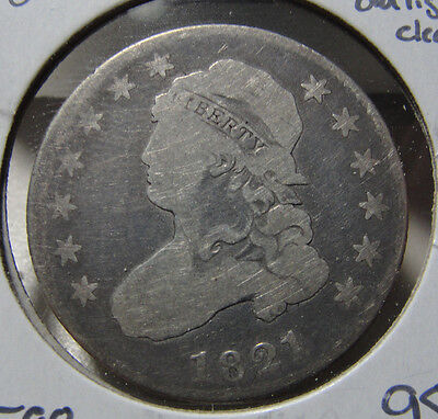1821 Caped Bust 25c Quarter Good G Coin Old Cleaning