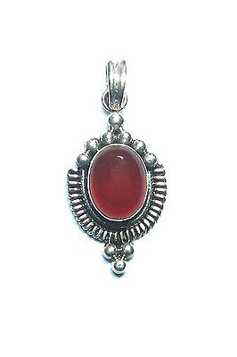 Balinese Sterling .925 Silver Pendant with Carnelian Stone & Silver Chain