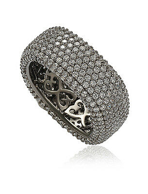 SUZY LEVIAN White Simulated Diamond Blackened 925 Silver Pave Eternity Band Ring