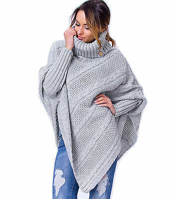 Juicy Peach Women's Ladies Poncho Warm Knitted Jumper Sweater Cape with Sleeves