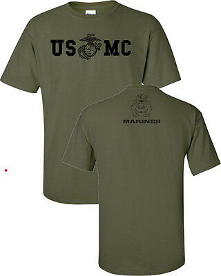 Marine Corps BULLDOG USMC Military Front & Back Print Men's Tee Shirt 842