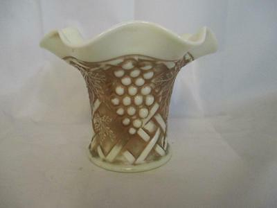 A3 Northwood GRAPE & CABLE Custard Glass Ruffled Vase