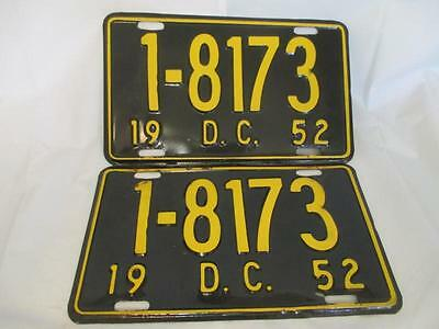 G8 1952 Pair WASHINGTON DISTRICT OF COLUMBIA License Plates 1-8173