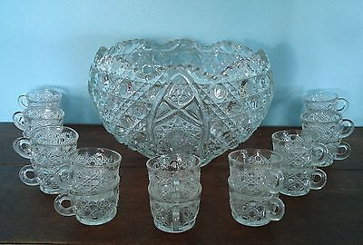 VTG L E SMITH 19 piece DAISY & BUTTON PRESSED GLASS PUNCH BOWL SET RARE 18 CUPS