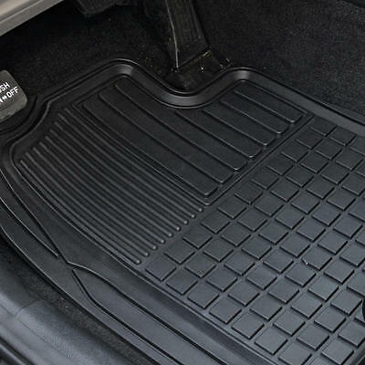 Heavy Duty Trim-Fit Rubber Car Floor Mats Grid Trapping Design Semi-Custom 2pc