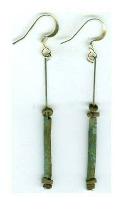 Ancient Egypt Turquoise Faience Glass Earrings BC 600