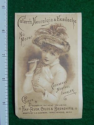 1870s-80s Cushman Menthol Inhaler Girl Fancy Hat Quack Medicine Trade Card F29