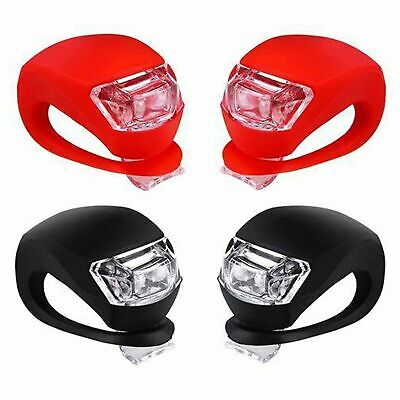 4 Pcs Silicone Bicycle Bike Cycle Safety LED Head Front & Rear Tail Light Set