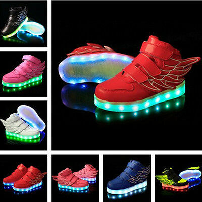 New Boys Girls LED Light up Lace Up Luminous Sneakers Kids Casual Shoes wings