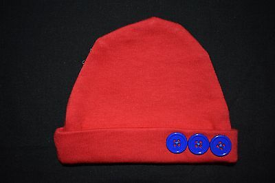 Red Premmie Baby Boy Hat - handmade
