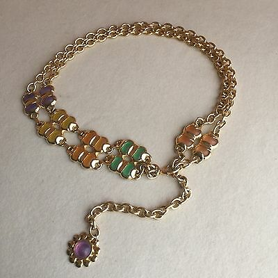 INCREDIBLE Vintage RUNWAY Style GOLD Chain GLASS Cabochons WAIST Hip DISCO Belt