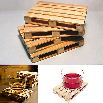 High 4Pcs Mini Set Wooden Pallet Styled Cups Holder Mat Coffee Drinks Coasters