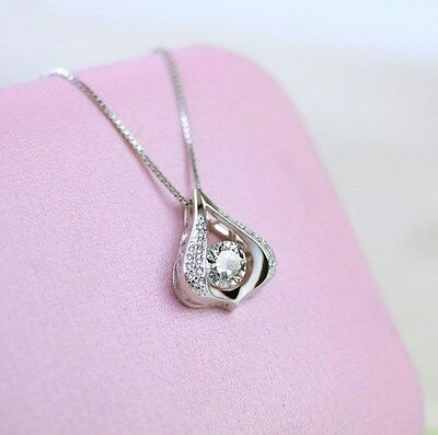 Dancing Silver Halo Heart Water Drop Cubic Zirconia Pendant Necklace Gift Box A8