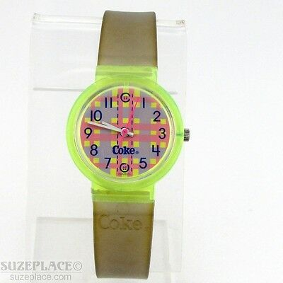 Vintage Coke Coca-Cola Watch Pink Grey Plaid Dial Green Band '80's Wr Works!!