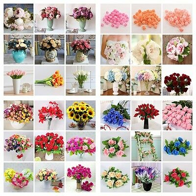 Artificial Fake Silk Leaf Rose Flower Peony Hangng Garland Wedding Decor Bouquet