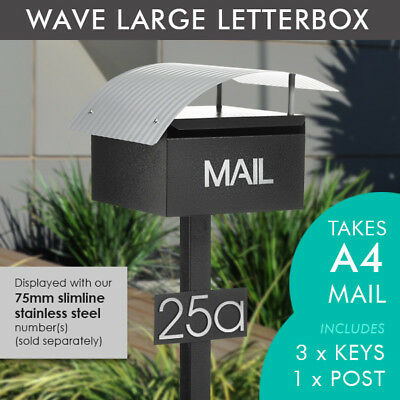 MILKCAN DESIGN LARGE A4 Stone Wave Letterbox Mailbox INCLUDES Post Number Plate