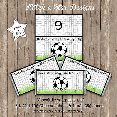 Soccer Ball Birthday Personalised Party Chocolate Wrappers X 10