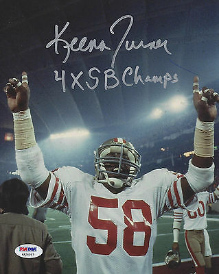 """Keena Turner 49Ers """"4X Sb Champs"""" Autographed & Inscribed 8X10 Color Photo"""