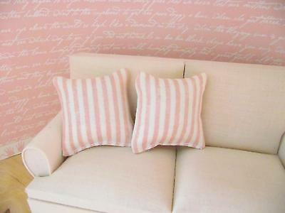 Miniature Doll House 12Th Scale Furniture 2 X Scatter Sofa Cushions Pink Stripe