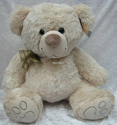 New 55cm Soft Fluffy Plush Traditional Teddy Bear Embroidered Face, Button Eyes
