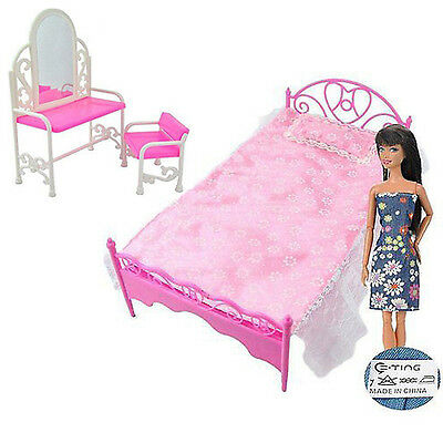 Fashion  Dressing Table Chair & Bed Bedroom Furniture for Barbie Dolls Dollhouse