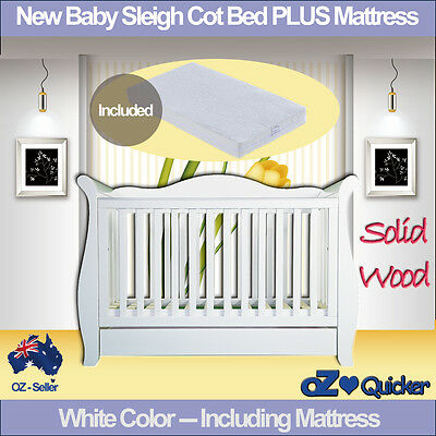 Baby Cot Set 3 in1 White Wooden New Zealand Pine crib Toddler Bed with mattress