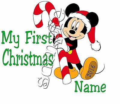 Iron On Transfer Personalised My First Christmas Mickey Mouse Candy Cane Santa