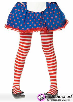 7-10 years Girls Red And White Striped Tights by Leg Avenue