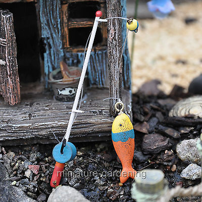 Miniature Fairy Garden Fishing Pole with Fish