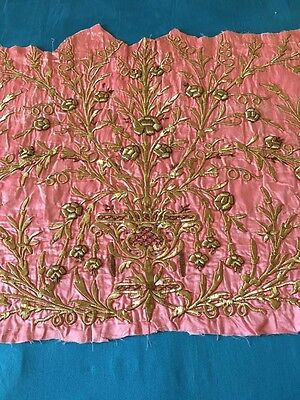 19th ANTIQUE OTTOMAN-TURKISH GOLD METALLIC HAND EMBROIDERED FRAGMENT 100cm*68cm