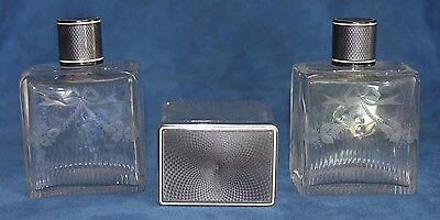 Antique Pair Signed French Sterling Guilloche Enamel Perfume Cologne Bottles Box
