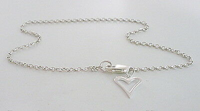 Anklet Ankle Chain Bracelet Solid 925 Sterling Silver Hollow Love Heart Charm