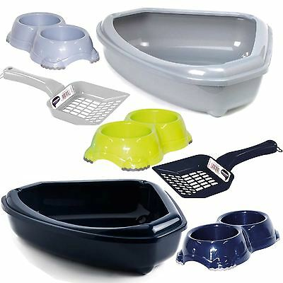 Cat Corner Open Litter Tray + Double Bowl + Scoop Plastic Box Toilet