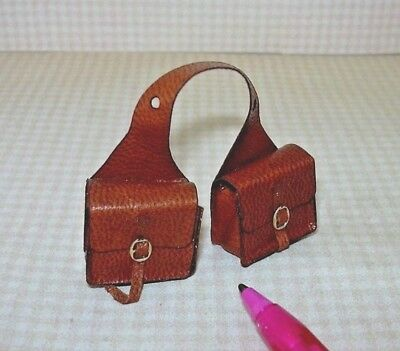 "DOLLHOUSE 1:12 Wearable Miniature /""Prestige/"" GOLD Leather Holsters w//Pistols"