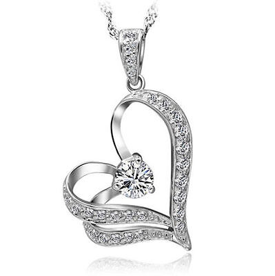 9k White Gold Heart Necklace Pendant Chain GF Wife Mum Sister Valentine