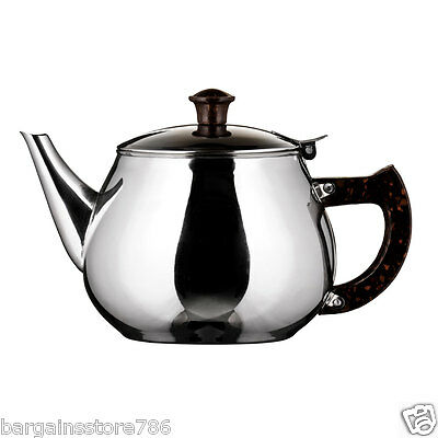 1 Litre Teapot Classic Catering Metal Stainless Steel 6 Cup Tea Pot 1.7 Pint New