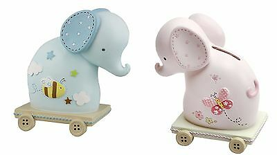 Baby Boy/Girl RESIN ELEPHANT MONEY BOX Christening New Baby Gift Blue & Pink