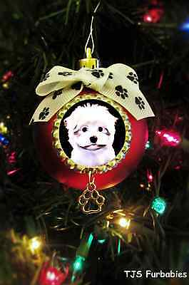Maltese Puppy Dog Christmas Ball Ornament Pet Lovers Gift by TJS Furbabies