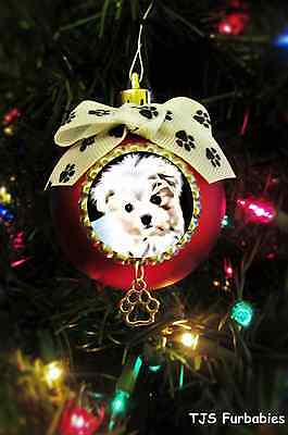 Maltese Puppy Dog-Painted Christmas Ball Ornament Pet Lovers Gift TJS Furbabies