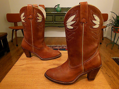Vtg ACME Lt. Brown, Stacked Heel, Fancy Western Cowgirl Boots 7.5M U.S.A. Sweet!