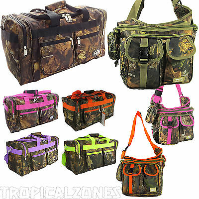 "20"" 25"" Camo Duffel & Shoulder Bags Camping Hunting Travel Luggage Pink Black"