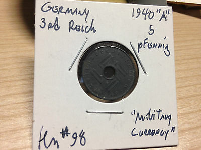 Germany KM #98, 1940A, 5 pfennig Military Occupation coin RARE!!!