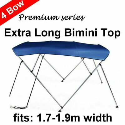 240cm Extra Long 4 Bow 1.7m-1.9m Boat Bimini Top Canopy Cover 130cm height Blue