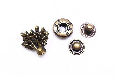 Tree Snap Fastener Button Antique Bronze Press Stud Popper Leather Making 100pcs