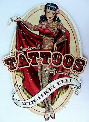 PROFESSIONAL TATTOOS PERFORMED HERE AGED ALL WEATHER  Metal tin Sign