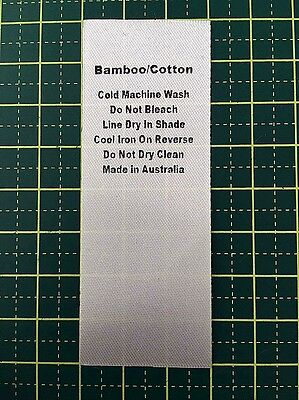 Care/Wash Instruction Clothing Labels - Bamboo/Cotton