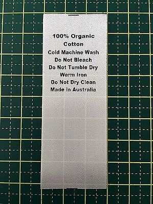 Care/Wash Instruction Clothing Labels - 100% Organic Cotton