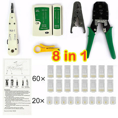 Network Cable Tester Tool Kit Rj45 Lan Crimp Punch Down Stripper Modular Plug