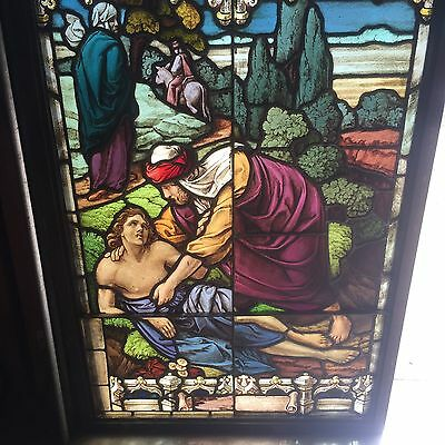 Antique Painted And Fired Good Samaritan Window